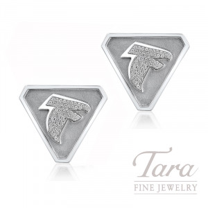 14K White Gold Atlanta Falcons Diamond Cufflinks, .44TDW
