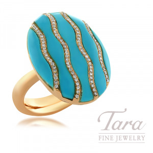 18K Rose Gold Turquoise & Diamond Ring, 98 Round Diamonds 0.43TDW