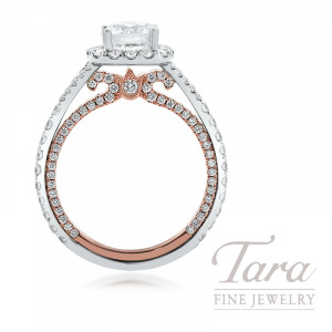 18K Rose and White Gold Diamond Halo Engagement Ring, 4.5G, 1.08TDW (Center Stone Sold Separately)