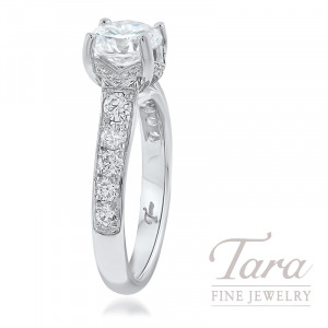 18K White Gold Diamond Engagement Ring, 4.8G, .58TDW (Center Stone Sold Separately)