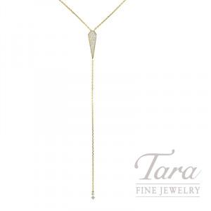 18K Yellow Gold Sparkling Pave Diamond Lariat Necklace, 5.1G, .55TDW