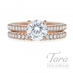 18K Rose Gold Pave Diamond Wedding Set, 1.48TDW (Center Stone Sold Separately)