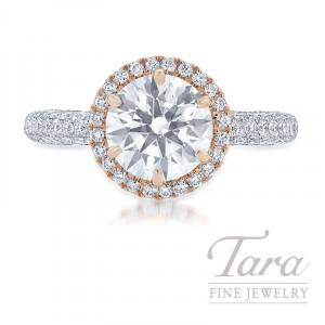 18K Rose Gold & White Gold Diamond Halo Engagement Ring, 2.03CT Forevermark Diamond, 6.2G, 1.32TDW (Center Stone Sold Separately)