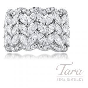 18K White Gold Diamond Band, 30 Marquise Diamonds 2.71TDW, 78 Round Diamonds 0.80TDW