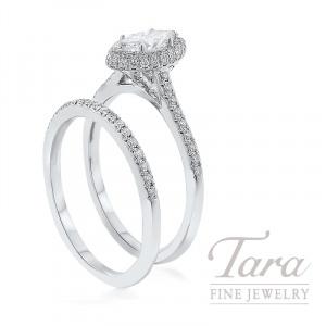 18K White Gold Marquise Diamond Halo Wedding Set, .48CT Marquise Diamond, .35TDW (Center Stone Sold Separately)
