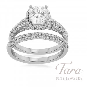 18K White Gold Pave Diamond Halo Wedding Set, .78TDW (Center Stone Sold Separately)