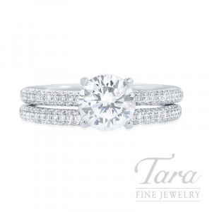 18k White Gold Pave Diamond Wedding Set, .70CT Forevermark Diamond, .43TDW (Center Stone Sold Separately)