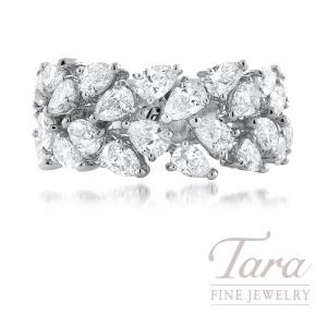 18K White Gold Diamond Band, 24 Pear Shape Diamonds 3.44TDW