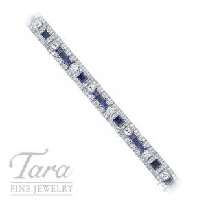 Platinum Blue Sapphire and Diamond Bracelet, 12.50TDW