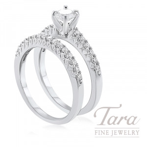 18K White Gold Diamond Wedding Set, .38CT Round Brilliant Diamond, .60TDW