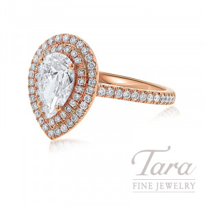 18K Rose Gold Double Halo Pear-Shape Diamond Engagement Ring, 1.10CT Pear-Shape Diamond, 4.0G, .49TDW (Center Stone Sold Separately)