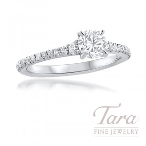 Forevermark Platinum Diamond Engagement Ring, 0.50CT. Round Forevermark Diamond, 24 Round Forvermark Diamonds 0.26TDW