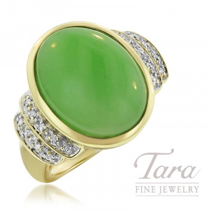 14K Yellow Gold Ring 16x12 Oval Cabochon Jade and 18 Diamonds .08TDW