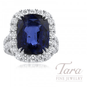 Platinum Cushion Cut Blue Sapphire & Diamond Halo Ring; 13.60CT Cushion Cut Blue Sapphire, 60 Round Diamonds 3.07TDW