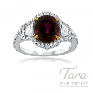 Platinum and 18K Yellow Gold Cushion Cut Thai Ruby and Diamond Ring, Thai Ruby 3.42CT, 2 Trapezoid Diamonds 0.38TDW, 60 Round Diamonds 0.45TDW