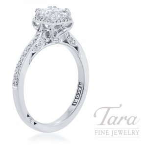 Tacori 18k White Gold Cushion Diamond Engagement Ring, .90CT Cushion Cut Diamond, 3.5G, .25TDW (Center Stone Sold Separately)