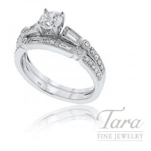 18k White Gold Baguette and Round Diamond Wedding Set, .40TDW (Center Stone Sold Separately)