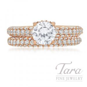 Ritani 18k Rose Gold Pave Diamond Wedding Set, 1.62TDW (Center Stone Sold Separately)