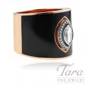 Norman Covan 18K Rose Gold Black Enamel & Rose Cut Marquise Diamond Fashion Band, 16.5G, .28CT Rose Cut Marquise Diamond, .09TDW Round Diamonds
