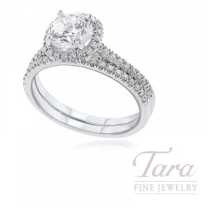18K White Gold Diamond Halo Wedding Set, .33TDW (Center Stone Sold Separately)