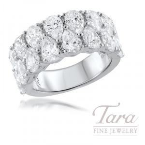 18K White Gold Diamond Band 16 Pear Shaped Diamonds 4.93TDW