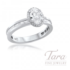 18K White Gold Channel Set Diamond Wedding Set, 18 Baguette Diamonds 0.43TDW and 22 Round Diamonds 0.06TDW, Oval Diamond 0.80CT/H-VVS1 (Center Stone Sold Separately)