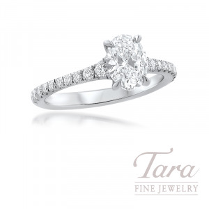 Forevermark Platinum Diamond Engagement Ring, 1.04CT. Oval Diamond, 20 Rounds 0.32TDW