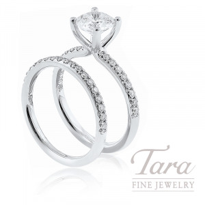 18k White Gold Diamond Wedding Set, .39TDW (Center Stone Sold Separately)