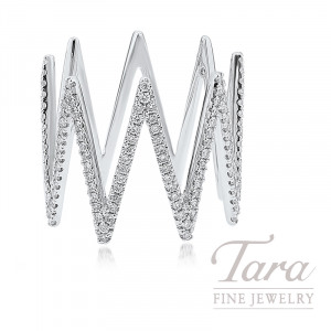 18K White Gold Zig-Zag Diamond Ring, 4.0G, .43TDW