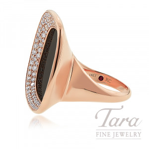 "Roberto Coin 18K Rose Gold Black Jade & Diamond Fashion Ring, 14.6G, 1.26TDW, ""Carnaby Street"" Collection"