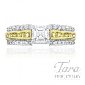 A. Jaffe 18k Yellow Gold and White Gold Asscher Cut Diamond and Fancy Yellow Diamond Engagement Ring, 1.00CT Asscher Cut Diamond, .70TDW (Center Stone Sold Separately)