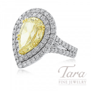 Platinum and 18k Yellow Gold Double Halo Pear-Shape Fancy Yellow Diamond Ring, 4.07CT Fancy Yellow Diamond, 2.11TW White Diamonds, 6.18TDW