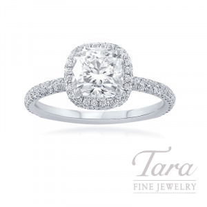 18k White Gold Cushion Diamond Halo Engagement Ring, 1.51CT Cushion Diamond, .50TDW (Center Stone Sold Separately)