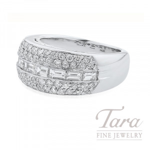 18K White Gold Baguette & Pave Diamond Band, 11.2G, .84TDW Baguettes, .69TDW Round Diamonds