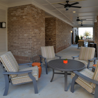 Shaded outdoor gathering areas