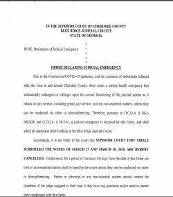 Cherokee County Superior Court: Order Declaring Judicial Emergency