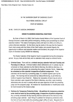 Cherokee County Superior Court: Order to Address Essential Functions