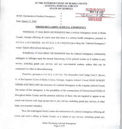 Burke County Superior Court: Order Declaring Judicial Emergency