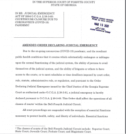 Forsyth County Superior Court: Amended Order Declaring Judicial Emergency