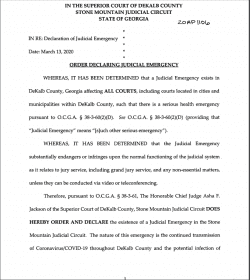 Dekalb County Superior Court: Order Declaring Judicial Emergency