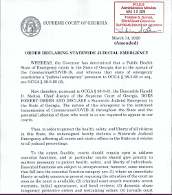 Supreme Court of Georgia: Order Declaring Judicial Emergency (Amended)