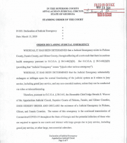 Appalachian Judicial Circuit (Fannin, Gilmer & Pickens): Order Declaring Judicial Emergency