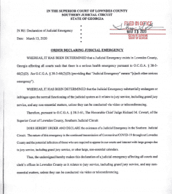 Lowndes County Superior Court: Order Declaring Judicial Emergency