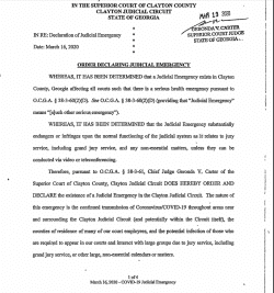 Clayton County Superior Court: Order Declaring Judicial Emergency