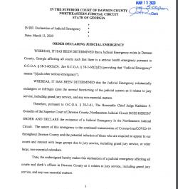 Dawson County Superior Court: Order Declaring Judicial Emergency