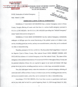 Henry County Superior Court: Order Declaring Judicial Emergency