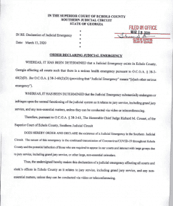 Echols County Superior Court: Order Declaring Judicial Emergency