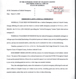 Colquitt County Superior Court: Order Declaring Judicial Emergency