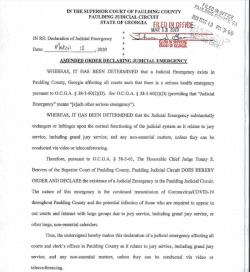 Paulding county Superior Court: Order Declaring Judicial Emergency