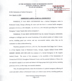 Richmond County Superior Court: Order Declaring Judicial Emergency